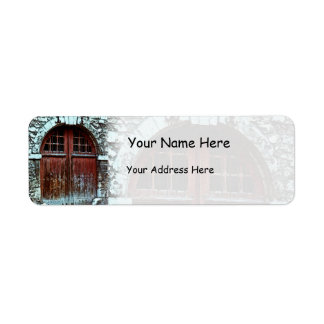 Big Brown Doors Arched Stone Wall Label
