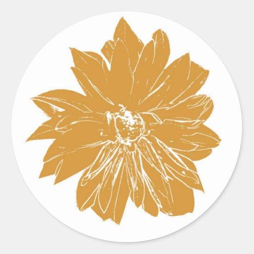 Big brown flower classic round sticker