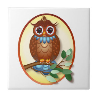 Big Brown Owl  Oval Tile-Trivet Ceramic Tile