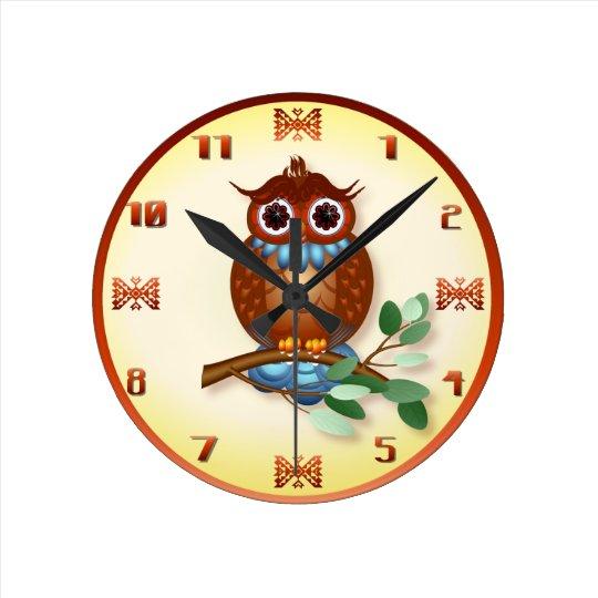Big Brown Owl Wall Clock