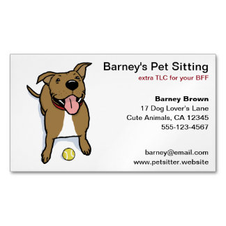 Big Brown Smiley Cartoon Dog with Tennis Ball Magnetic Business Card