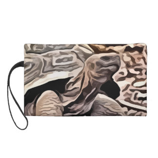 big brown turtle painting wristlet purse