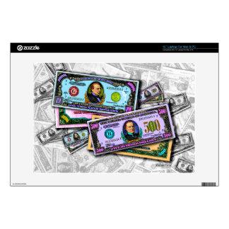 Big Bucks LAPTOP ZAZZLE SKIN by PopArtDiva Decals For Laptops