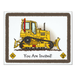 Big Bulldozer Dozer Kids Party Invitation