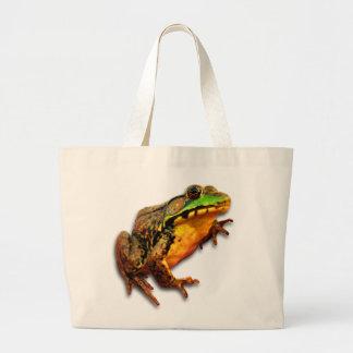 Big Bullfrog Large Green Yellow Brown Frog Tote Bags