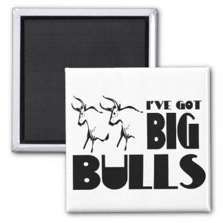 Big Bulls - Funny Farmer 2 Inch Square Magnet