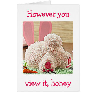"""BIG BUNNY BUTT / BIG EASTER WISH FOR YOU """"HONEY"""" CARD"""