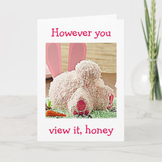 """BIG BUNNY BUTT / BIG EASTER WISH FOR YOU """"HONEY"""" HOLIDAY CARD"""