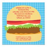 """Big Burger BBQ Invitation 5.25"""" Square Invitation Card"""