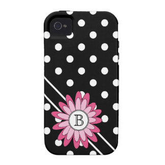 Big BW Polkadots with Hot Pink Flower and Monogram Case-Mate iPhone 4 Covers