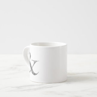 Big Caslon Medium Black Letterpress Grain Espresso Cup