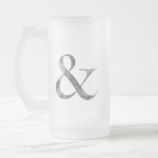 Big Caslon Medium Black Letterpress Grain Frosted Glass Beer Mug