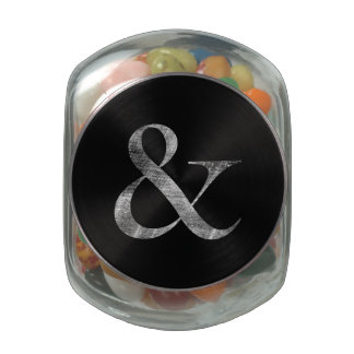 Big Caslon Medium White Letterpress Grain Glass Candy Jar