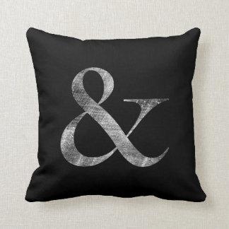 Big Caslon Medium White Letterpress Grain Throw Pillow
