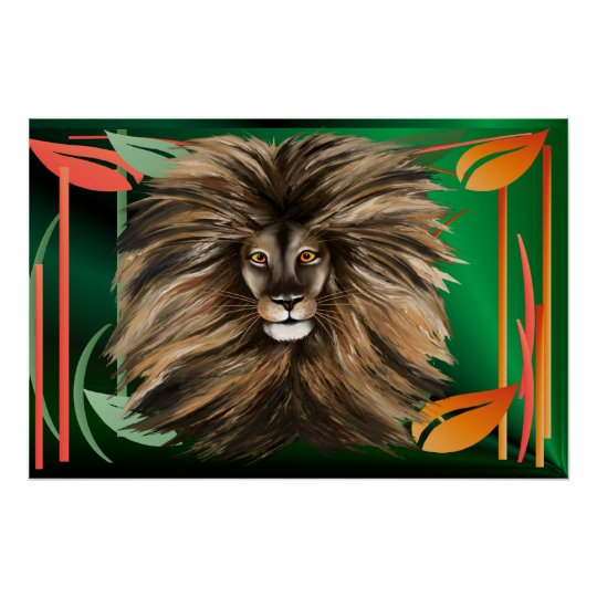 Big Cat and Colorful Jungle Poster