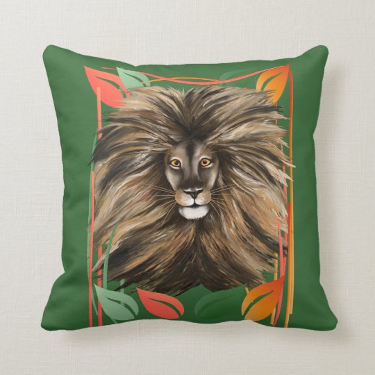 Big Cat and Colorful Jungle Smaller Pillow