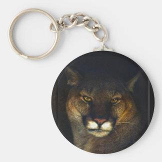 Big Cat Cougar Mountain Lion Art Design Basic Round Button Keychain