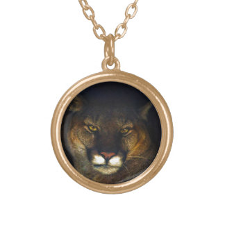 Big Cat Cougar Mountain Lion Art Design Gold Plated Necklace