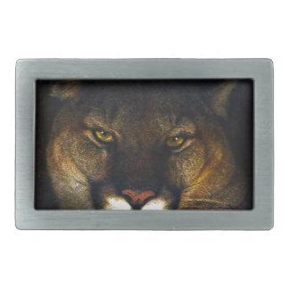 Big Cat Cougar Mountain Lion Art Design Rectangular Belt Buckle