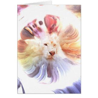 Big Cat in Colorful Grunge Circle Greeting Card