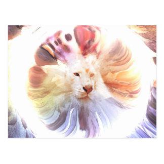 Big Cat in Colorful Grunge Circle Postcard