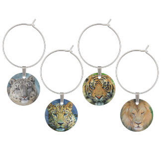 Big Cat Lion Tiger Leopard Snow Leopard Wine Charm