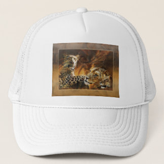 Big cat predators art trucker hat