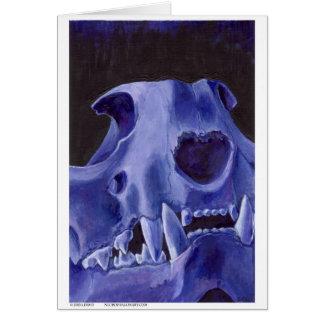 Big Cat Skull: Caracal Lynx study. Blue Greeting Card