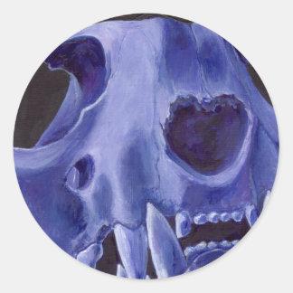 Big Cat Skull: Caracal Lynx study. Blue Classic Round Sticker