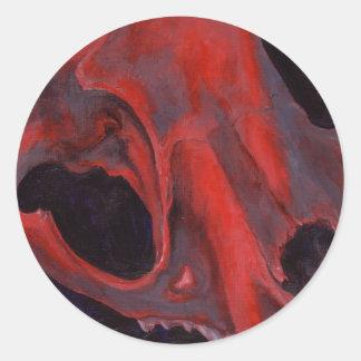 Big Cat Skull: Caracal Lynx study. Red Classic Round Sticker