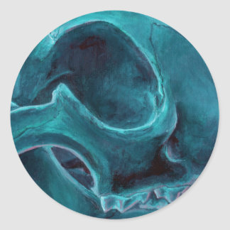 Big Cat Skull: Caracal Lynx study. Turquoise Classic Round Sticker