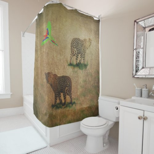Big Cats And Parrot Shower Curtain