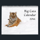 """Big Cats Calendar<br><div class=""""desc"""">Wildlife Calendar featuring Big Cats.  Also includes a few baby big cats.  Crystal clear photographs of Tigers,  snow leopards,  Bobcat,  Bobcat kitten,  mountain lion,  lion cub,  cheetah and the endangered Amur Leopard.  Perfect gift for the nature and wild cat lover.</div>"""