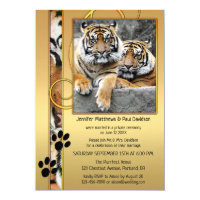 Big Cats Tiger Gold Post Wedding Invitation