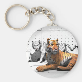 Big Cats - Tigers Basic Round Button Keychain