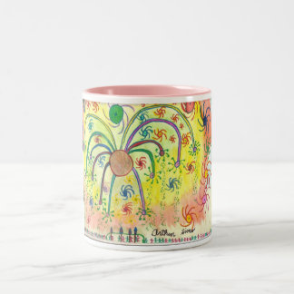 Big Celebration Art by a Teenager with Autism Two-Tone Coffee Mug