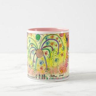 Big Celebration Art by a Teenager with Autism Two-Tone Coffee Mug