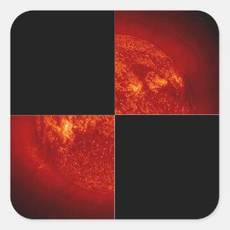BIG Checkered Flag 1 The Square Red Sun Sticker