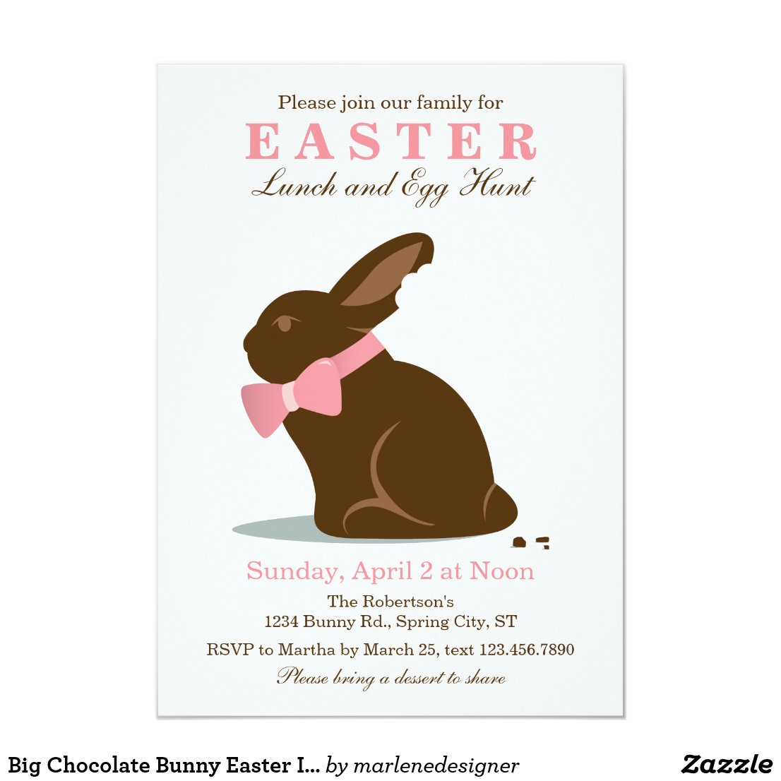 Big Chocolate Bunny Easter Invitation