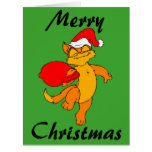 Big Christmas Ginger Santa Cat Card