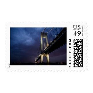Big City Bridge At Night Postage