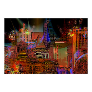 Big City Lights Art Poster