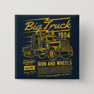 Big Classic USA Truck Iron and Wheels Button