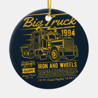 Big Classic USA Truck Iron and Wheels Ceramic Ornament