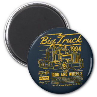 Big Classic USA Truck Iron and Wheels Magnet