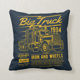 Big Classic USA Truck Iron and Wheels Throw Pillow
