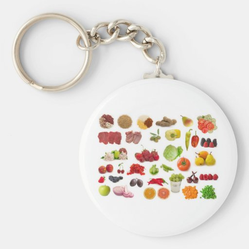 big collection of fruits and vegetables key chain