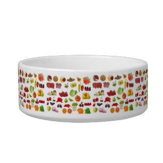 big collection of fruits and vegetables pet water bowls