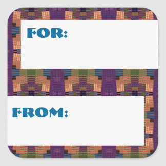 Big Coloful Squares Patterned Gift Tag Stickers
