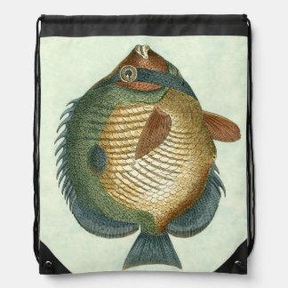 Big Colorful Fish Drawstring Backpack